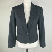 Vintage Pendleton Blazer Sports Coat Womens 10 Dark Gray Virgin Wool Notch Lapel