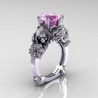 Women 925 Silver Skull Ring Ruby Sapphire Flower Wedding Jewelry Size 6-10