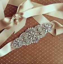 "Vintage Bridal Sash Belt Crystal Bead Rhinestone Wedding Dress Ribbon (5.6*2"""