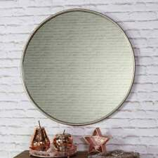 Large Silver Round Vintage Wall Mirror Circle Living Room Hallway Bedroom Vanity
