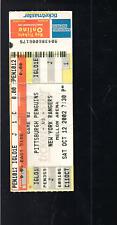 HOCKEY NHL PITTSBURGH PENGUINS VS NEW YORK RANGERS TICKET STUB, 2002