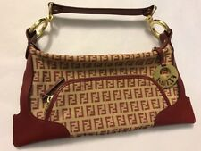 Fendi Designer Authentic Handbag Monogram Red Evening Bag Dustbag Purse Clutch
