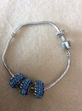 Tibetan Silver Bracelet With Three Multi Blue Crystal Beads