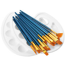 12pcs Paint Brush & 2 Paint Tray Palettes for Watercolor Oil Painting Acrylic