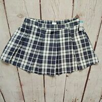 CRB Girl Gray White Plaid Skort Size XL 16 Stretch Waist Pleated Above Knee NWT