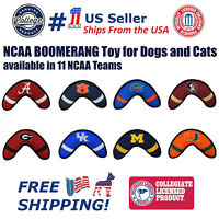 Pets First NCAA Licensed Dog Boomerang Toy - Heavy Duty, Tough and Squeaky Toy