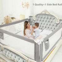"""Kids Bed Rails Toddlers 80""""(2M) Extra Long Baby Bed Rail Guard Gray For King Bed"""