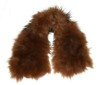 Vintage Brown Fox Fur Natural Hide with Fabric Stripes Back Cuddly Scarf Collar