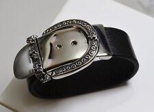 Bracelet cuir et acier inox ceinture  boucle  motif tête de mort et fleur de lys