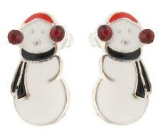 Zest Christmas Snowman With Ear Muffs & Scarf Earrings for Pierced Ears Black