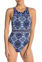 Tommy Bahama Navy Blue Cowrie One-Piece Swimsuit 7907 Size 10