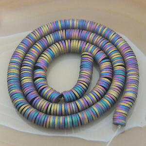"Hematite Heishi Silver Gold Blue Purple Multi-color Beads 2mm 3mm 4mm 6mm 16"""