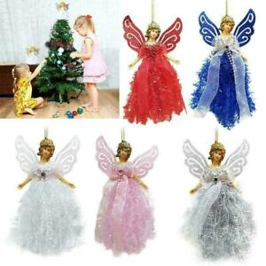 Christmas Angel Fairy Tree Topper Pink Silver Blue Red White Decorations Gifts*