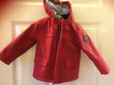 Mini Rebel red coat with hood age 9-12 month, like a mac, 2 pockets zip up front
