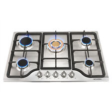 "Top BLACK Stove 30""Stainless Steel Cooktop Built-in 5 Burners NG/LPG Gas Hob USA"