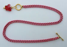 /Custom anklet with Crystal Butterfly pendant Red aluminum chain Nic