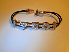 Swarovski® signed Swan crystal Bracelet circle square round triangle gold black