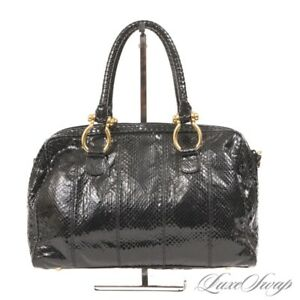 Vintage Pantera 1980s Black Genuine Snakeskin Gold Horseshoe Mini Duffle Handbag