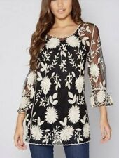Club L Embroidered Floral Top Black And White Size 20 Bnwt RRP £28