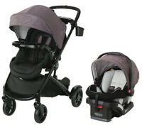 Graco Baby Modes2Grow Bassinet Travel System Stroller w/ Infant Car Seat Kinley