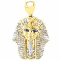 10K Yellow Gold Round Genuine Diamond Egyptian Pharaoh Pendant Charm 1.25 Ct.