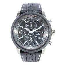 Seiko SNAB55 P1 Black Leather Chronograph Alarm Men's Quartz Watch
