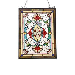 "25"" x  18"" Victorian Tiffany-Style Jeweled Row Stained Glass Round window"