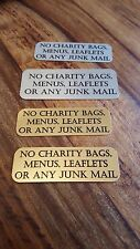 METAL DOOR PLAQUE - NO JUNK MAIL NO COLD CALLERS VARIOUS TEXT FREE P+P