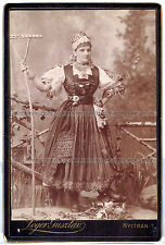 Cabinet Photo Woman in traditional dress in Slovakia and Hungary. (970)