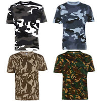 Mens 100% Cotton Premium Quality Camouflage T Shirt Military Combat Army S-5XL