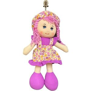 Rag Cloth Doll Country Style Purple Floral Dress Hat Shoes Yarn Hair Sewn Eyes