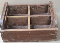 Distressed Solid Wood four storage Wine Caddy Holder Tote Basket crate carrier#5