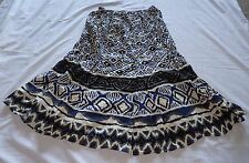 Ladies size 14 Blue/black/white/grey Cotton Crease long SKIRT new Rivers