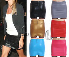 Leather Solid Mini A-Line Skirts for Women