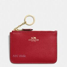New Coach F64064 Key Pouch With Gusset In Crossgrain Leather True Red NWT