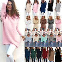 Womens Long Sleeve Casual Loose Pullover Sweater Sweatshirt Plain Tops Jumper US