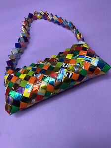 Y2K 90s 00s Mini Handbag Rainbow Multicolour Woven Plastic Packets Checked Bag