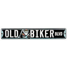 OLD BIKER BLVD Metal SIGN Harley Motorcycle Garage Man Cave Road Street FLHX