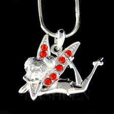 w Swarovski Crystal Red Tinkerbell Tinker Bell Fairy Angel Charm Chain Necklace