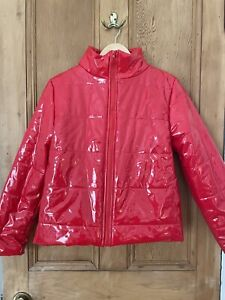 Shiny Red Puffer Jacket Womens M
