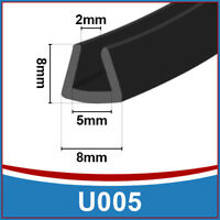Rubber U Channel Edging Edge | Flexible Trim Seal |  Fits 2mm to 5mm | Black