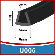 Rubber U Channel Edging Edge   Flexible Trim Seal    Fits 2mm to 5mm   Black