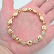 18K Yellow Gold Filled Women Clear Topaz Romantic Love Hearts Link Bracelet
