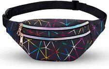 Holographic Black Fanny Pack Waist Bag Adjustable Belt Party Rave EDM Festival