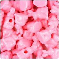 6 x 24mm Baby Pink Opaque Rabbit Pony Beads IDEAL FOR DUMMY CLIPS