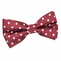 Burgundy Mens Bow Tie Woven Polka Dot Formal Classic Pre-Tied Bowtie by DQT