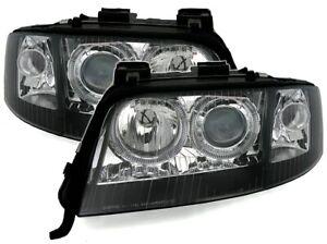 Angel Eyes Scheinwerfer für Audi A6 4B C5 99 - 01 D2S Xenon H7 Schwarz