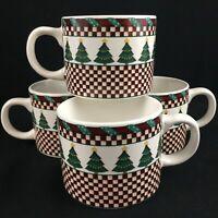 Set of 4 VTG Christmas Flat Cups by Sakura Santa's Spirit Debbie Mumm Holiday