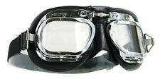 HALCYON MK410 DELUXE BLACK LEATHER FRAME CURVED LENS MOTORCYCLE GOGGLES RETRO