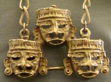 Vintage Mayan Mask Necklace Detailed 3-D 3 Masks Long Chain Unique & Chunky Nice